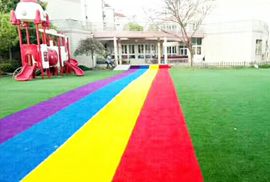Artificial lawn in kindergarten